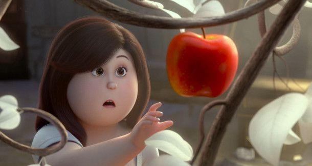 Auf der Suche nach ihrem Vater entdeckt Schneewittchen einen Baum, an dem zwei Äpfel hängen. Welche Kraft diese haben, findet sie schnell heraus.