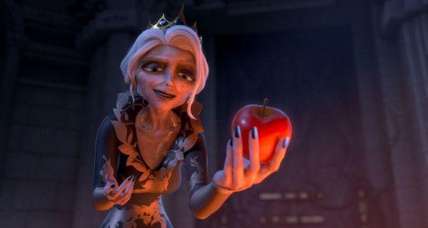 Um ihre Schuhe zurückzubekommen, muss Regina Schneewittchen finden und sie dazu bringen, einen Apfel zu essen.