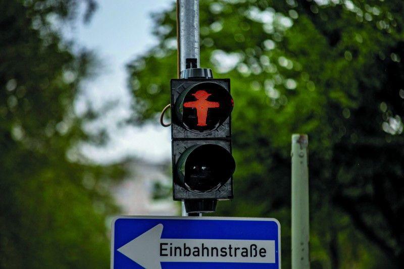 Ein Ampelmann im klassischen Look in Berlin.