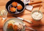 Fischküchlein mit Apfel-Meerrettich-Dip