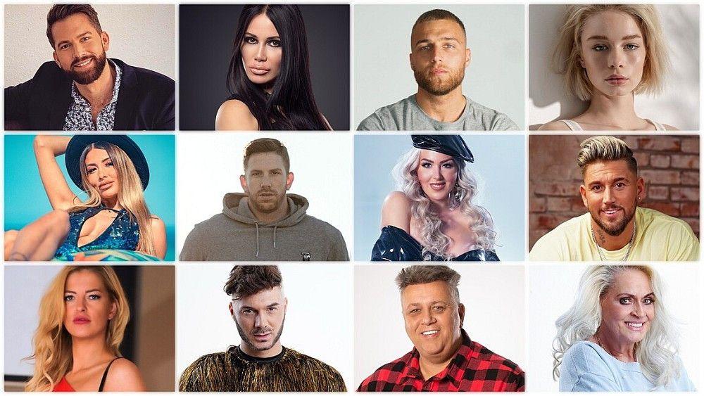 """Das sind die zwölf """"Dschungelshow""""-Kandidaten. Drag-Queen Nina Queer ist nicht dabei, an ihrer Stelle nimmt Sam Dylan an der Show teil."""