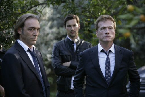 Renzo Esposito (Luca Ward, l.), Jupp Sauerland (Florian David Fitz, m.) und Fredo Kovacs (Jürgen Prochnow, r.).