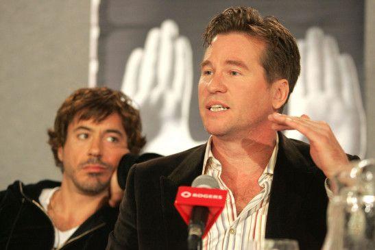 Einst adrett und nett: Hollywood-Star Val Kilmer (mit Robert Downey jr.).