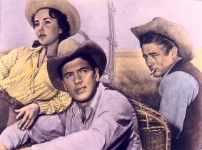 """Liz Taylor, Rock Hudson und James Dean (v.l.) in  """"Die Giganten"""""""