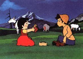 Die Freunschaft mit Peter macht Heidi das Leben in  den Bergen erträglicher