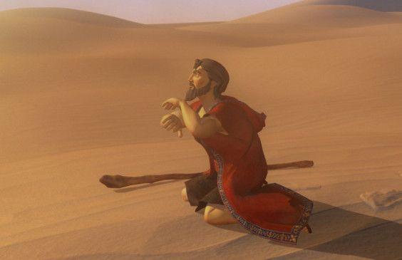 Verzweifelt: Moses in der Wüste