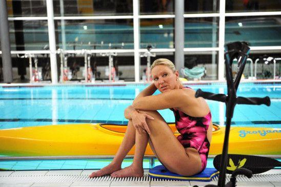 Eine außergewöhnliche Schwimmerin: die deutsche Goldmedaillengewinnerin Kirsten Bruhn