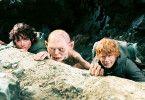 Vorsicht jetzt! Der Gollum (Mitte) warnt Elijah Wood (l.) und Sean Astin