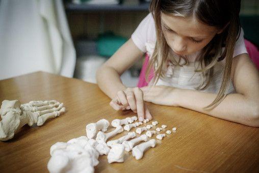 Romy (Lotti Kreitmeyr) weiß schon viel über Anatomie und Knochen.
