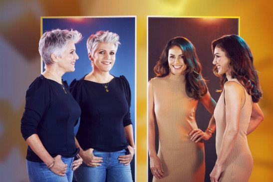 """Birgit Schrowange (l.) übergibt die Moderation von """"EXTRA - Das RTL-Magazin"""" an Nazan Eckes."""