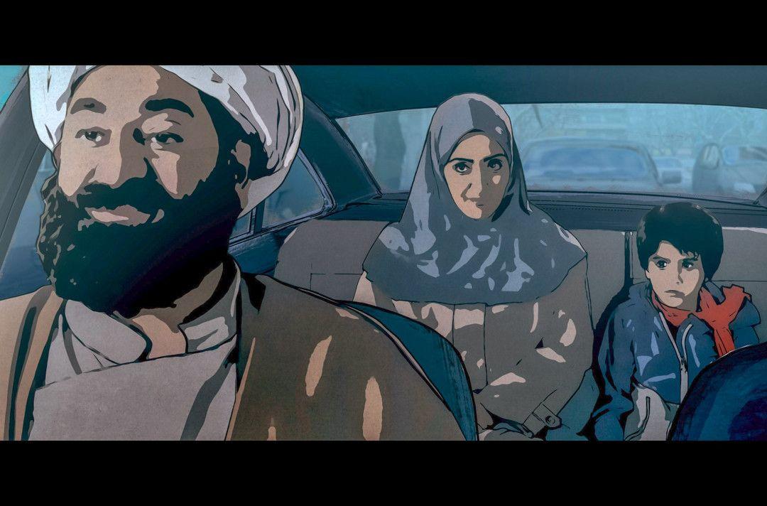 Pari (Mi.) und Elias (re.) mit dem Richter (li.) im Auto