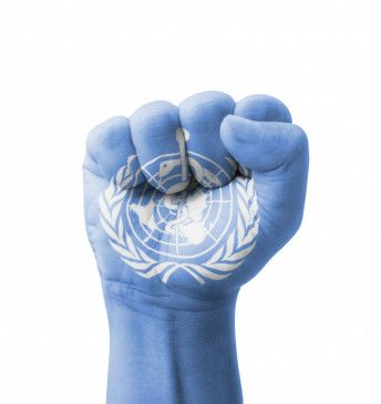 Fist of WHO (World  Health  Organization) flag painted, multi purpose concept - isolated on white background