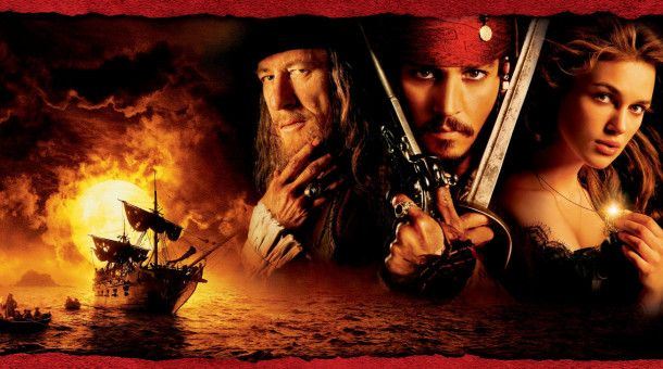 Fluch der Karibik mit (v.l.n.r.) Geoffrey Rush, Johnny Depp, Keira Knightley und Orlando Bloom