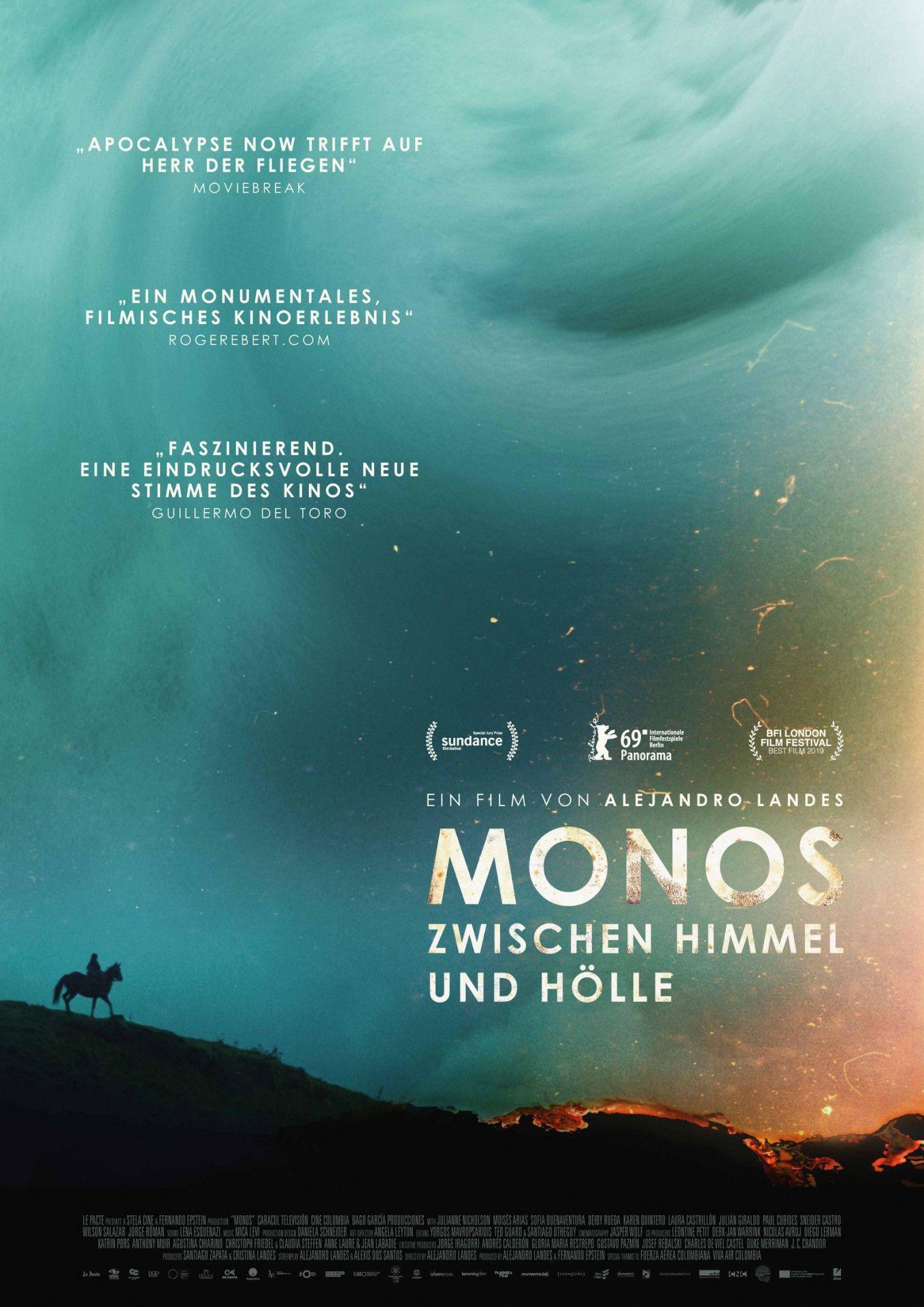 """Wild und surreal, unmittelbar in seiner Bildgewalt: """"Monos - Zwischen Himmel und Hölle"""" begleitet eine Gruppe Jugendlicher, die sich in einem ortlosen Dschungel von allen Fesseln der Zivilisation befreien."""
