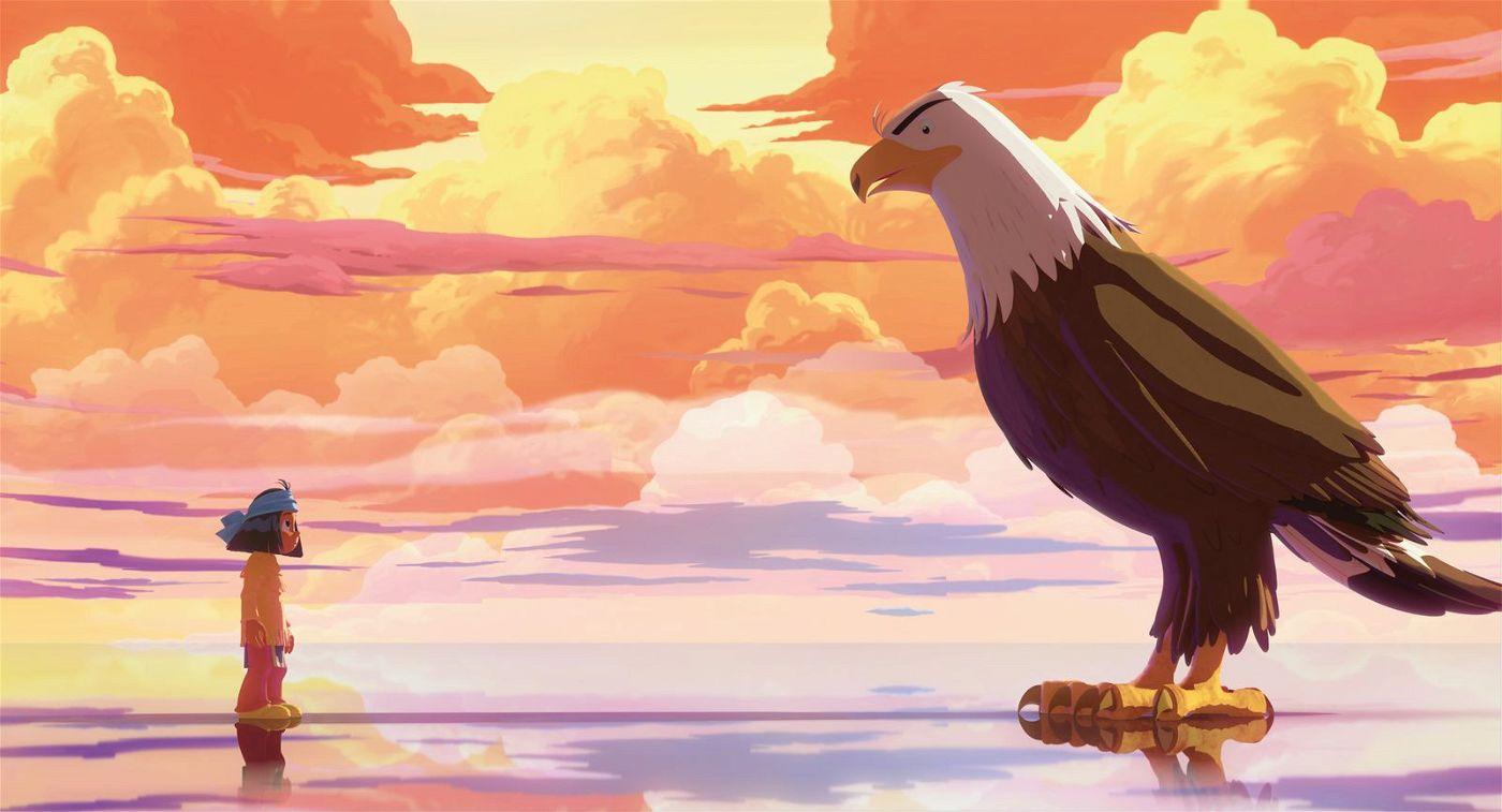 Von seinem Totem Großer Adler bekommt Yakari immer wieder weise Ratschläge und wird von ihm für seinen Mut belohnt.